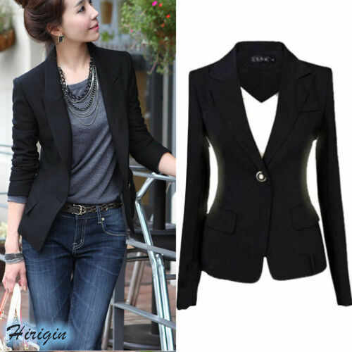 Wiosenny letni Plus rozmiar damski kurtka vintage HOT damski czarny Slim zapinany na jeden guzik Casual kurtka biznesowa S-3XL damski znosić