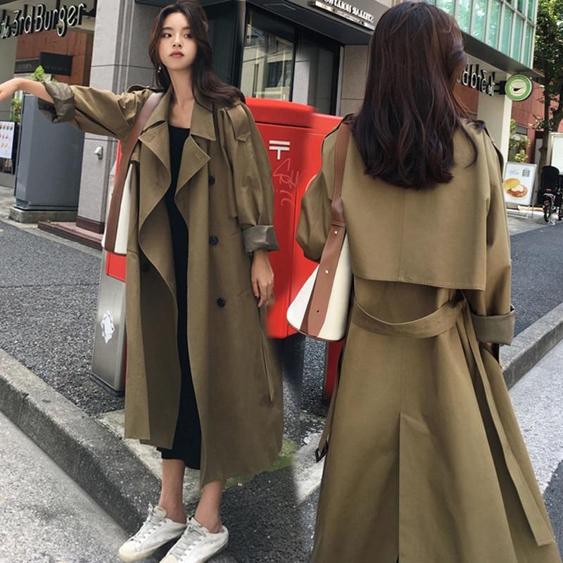 Mode Lj42 Pour Boutonnage Printemps Feminino Trench coat Double Femelle Long Green Casaco 2019 kaki Pardessus Army Femmes Streetwear 6Iq54xwp