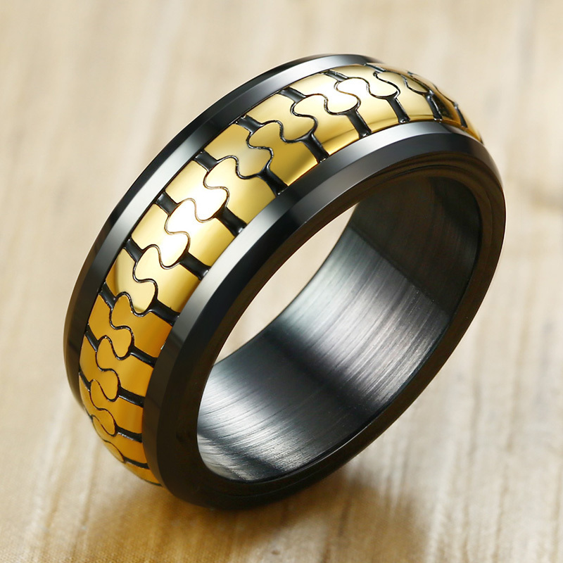 Wedding & Engagement Jewelry Engagement Rings Creative Mens Stainless Steel Rings In Black Stainless Steel Spinner Wedding Brands Dull Polish Handmade Finger Accessories