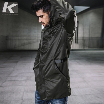 KUEGOU New Autumn Mens Hooded Trench Spliced Green Color Long Coats Clothing Man's Slim Overcoat Male Windbreaker Jackets 3840