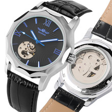 Mechanical Watch Mens Genuine Leather Wrist Clock Man Blue Pointers Automatic Self-Wind Timepiece relojes hombre Business Style ik colouring luxury mens watches self wind automatic mechanical watch fashion casual genuine leather strap wrist watch for man
