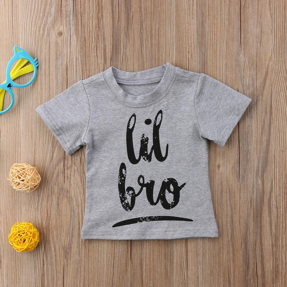 Schnelle Lieferung Heiße Neue Marke Kinder Kleinkind Baby Jungen Mädchen Brother Schwester Sommer Kurzarm Baumwolle Top Brief T-shirt Casual 0- 24 M