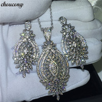 4f8e4a03d25c Choucong Luxury Jewelry Sets Pave Setting 5A Zircon Cz White Gold Filled  Wedding Earrings Necklaces For
