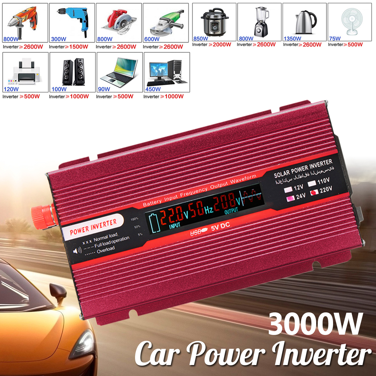 Car Power Inverter PEAK 3000W 12/24V To AC 220/110V USB Modified Sine Wave Converter Low Noise Voltage Transformer USB Aluminum 12 24v to ac 220 110v car power inverter converter peak 10000w usb modified sine wave voltage transformer universal intelligent