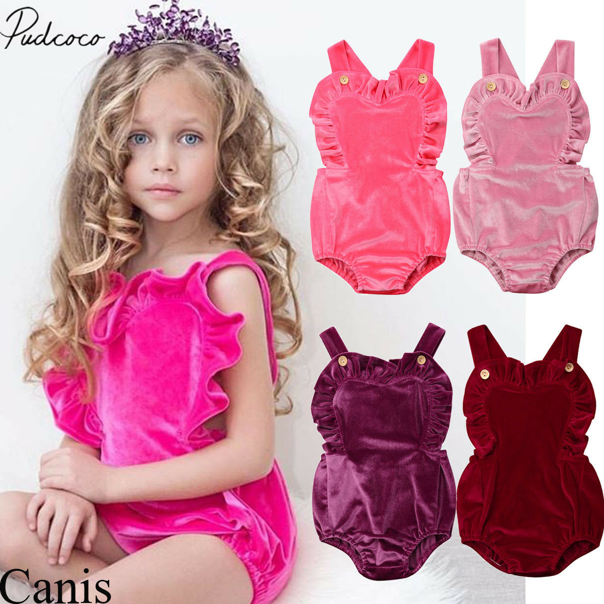0-3Y Infant Kids Baby Girls Velvet   Romper   Sleeveless Ruffles Solid Backless Jumpsuits Summer Sunsuit Clothes