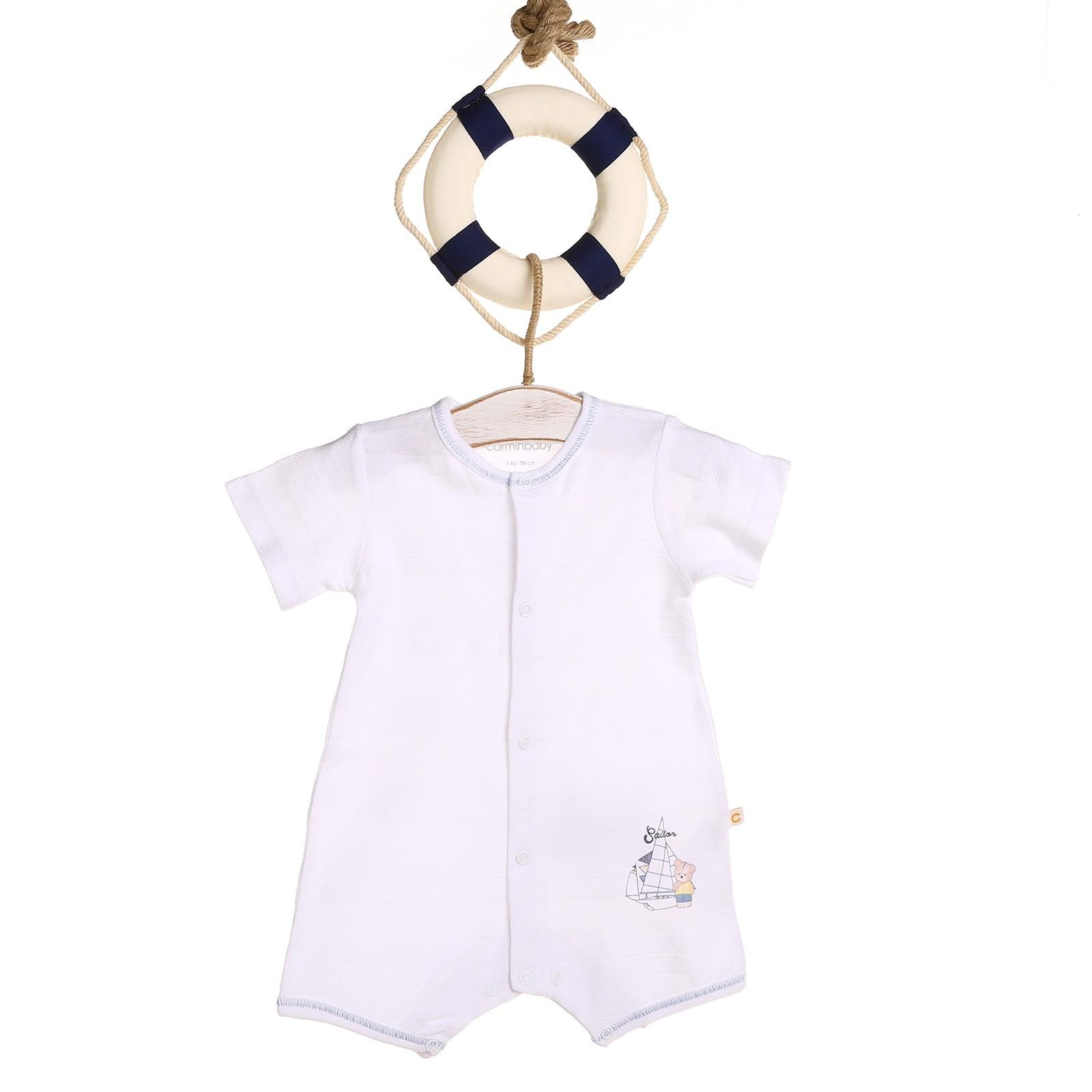 Ebebek Carmin Baby Boy Sailor Printed Jacquard Short Romper