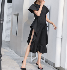Image 3 - LANMERM 2020 Spring Summer Short Sleeve Asmmetrical High Waist High Vent Dress For Women Female Black White Cloth Vestido WD712