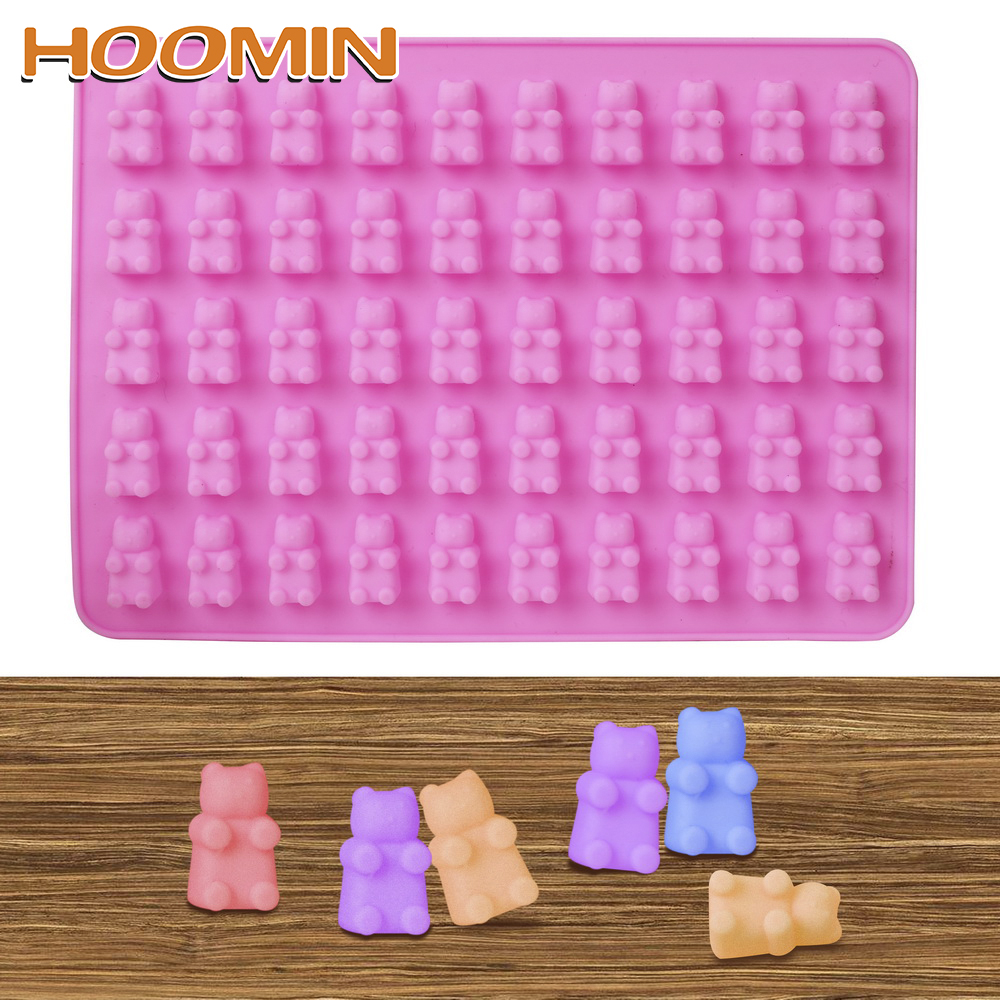 HOOMIN 3D Mini Bear 50 Cavity Silicone Mold Cookie Cake DIY Decorating Tools Chocolate Candy Ice Jelly Mold Fondant Baking Mould