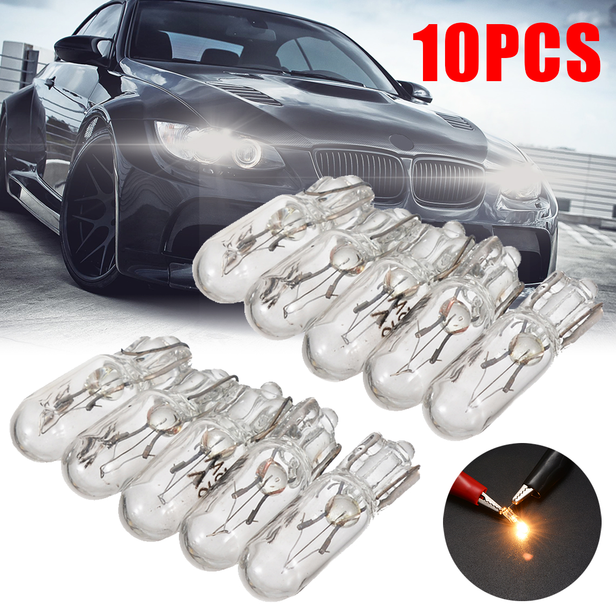 10pcs <font><b>T5</b></font> 286 Glass Car Wedge Dashboard Instrument Panel Brake Light Amber Auto Bulb <font><b>12V</b></font> <font><b>1.2W</b></font> image