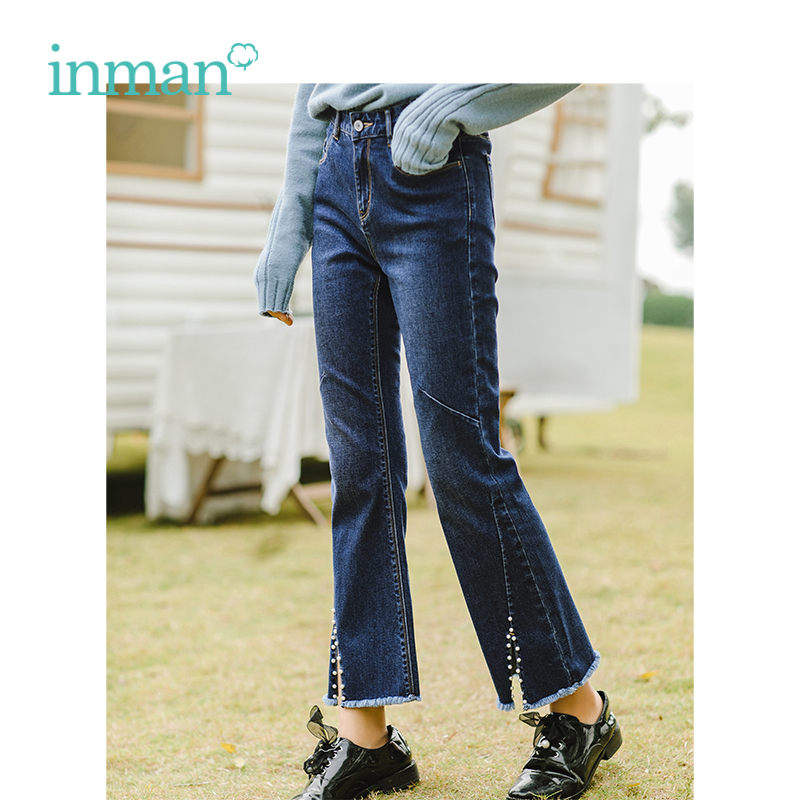 INMAN 2019 Spring New Arrival High Waist Slim Retro Literary Barr Split Flares Women Jeans