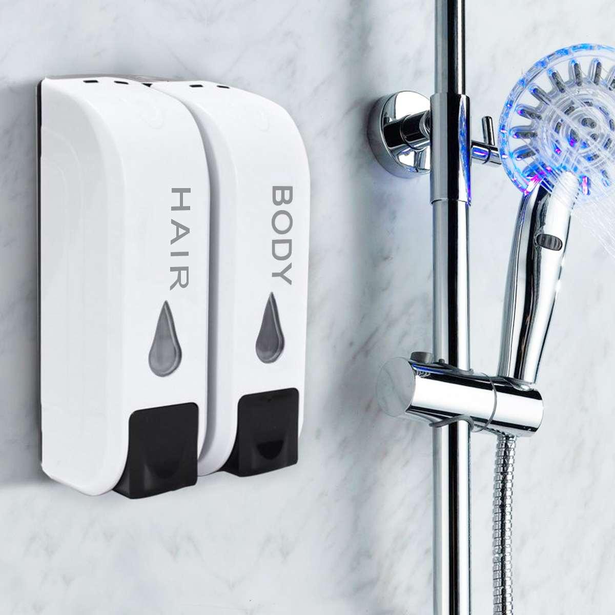 2x350 ml Wand Montiert Bad Dusche Körper Haar Shampoo Lotion Dispenser Behälter Flasche Doppel Flüssigkeit Seife Dispenser Startseite hotel