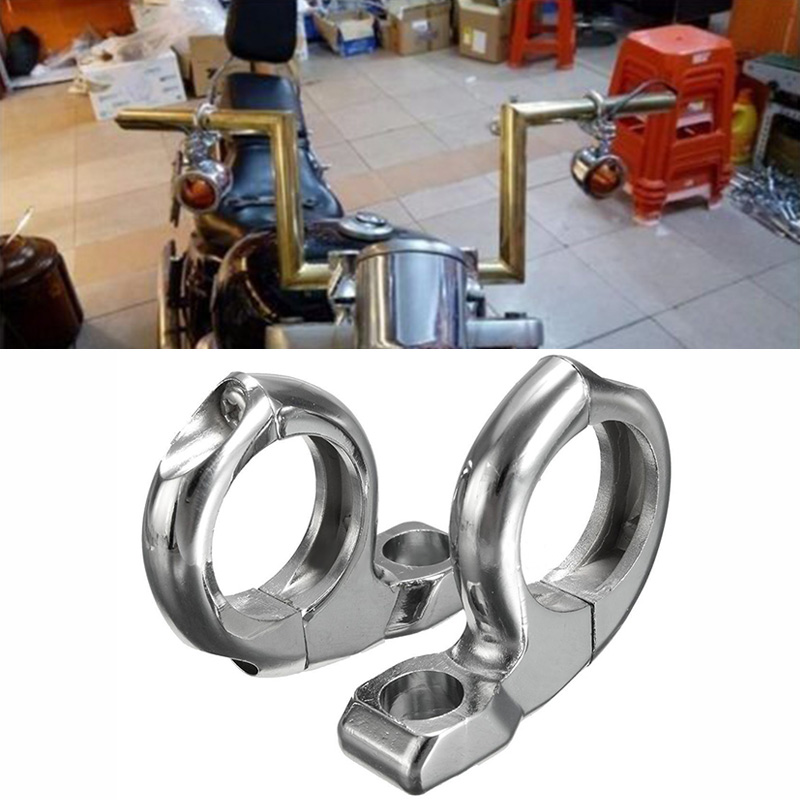2pcs/set  1inch Handlebar Motorcycle Turn Light/Mirror Adapter Clamp Mount Silver|Car Light Accessories| |  - title=