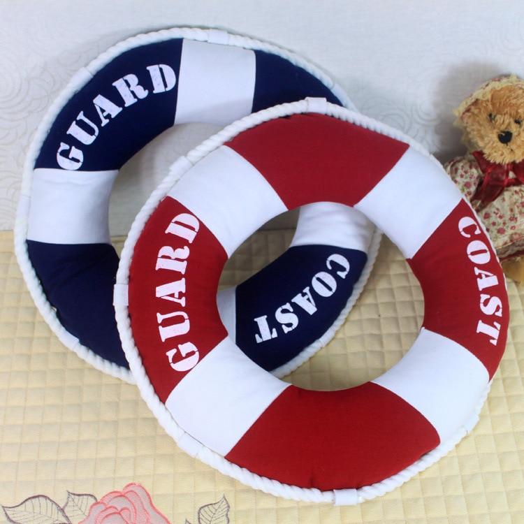 Pillow Decorative-Boat Nautical Mediterranean Lifebuoy-Cushion Ocean-Theme Round-Shaped