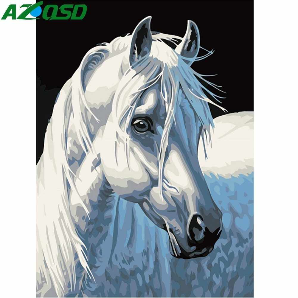 AZQSD Oil Painting By Numbers Horse Hand Painted Canvas Modern Wall Picture For Living Room Animal Home Decoration Wall Art