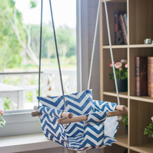 2019 New Hammock Chair Hanging Chair Swing Seat Canvas Hanging Swing Seat Cushion Indoor Outdoor Home Toy for Toddler Baby(China)