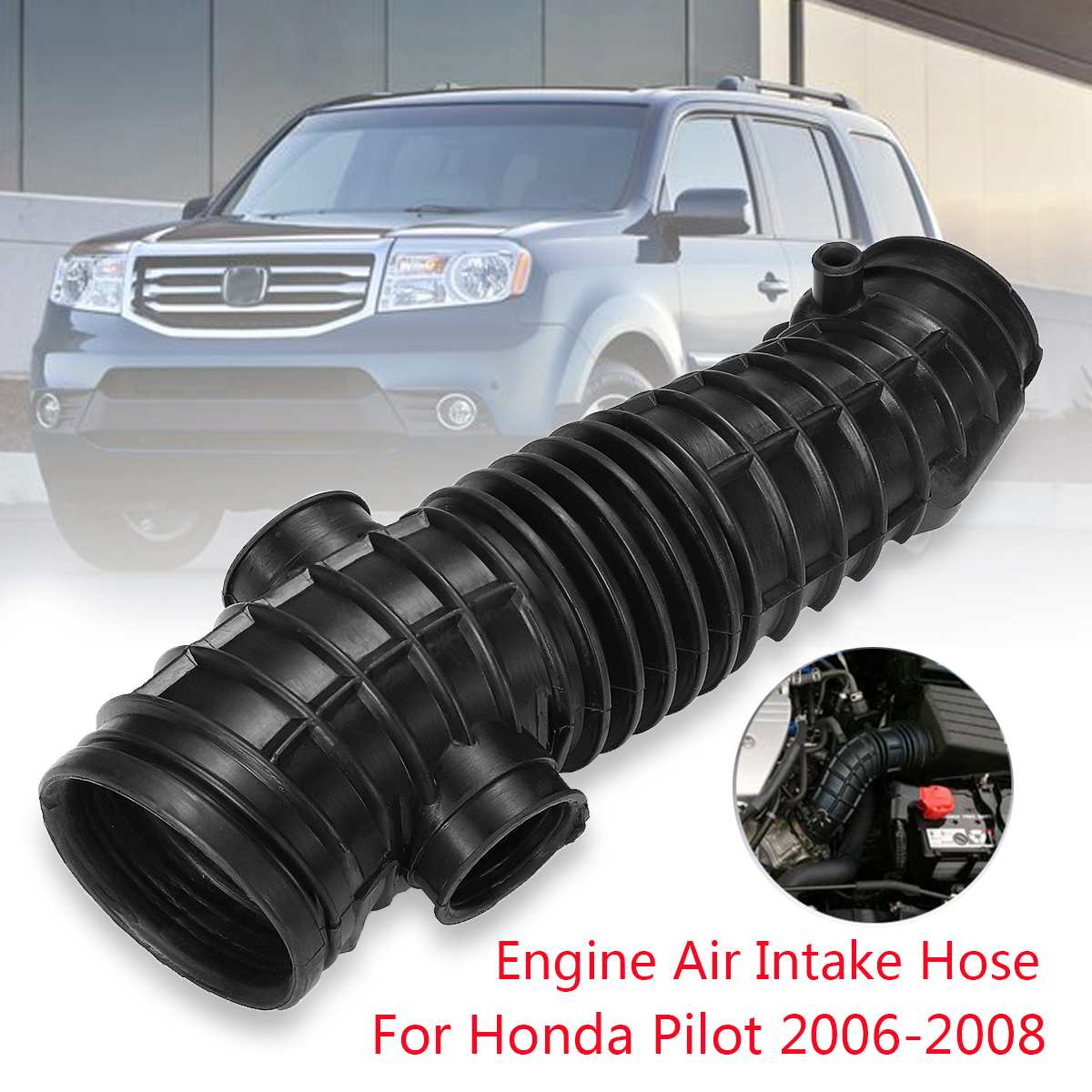 For Honda Pilot 2006-2008 Replacement Engine Air Cleaner Intake Hose V6-3.5L AIH551048H Durable Long Lifetime Guaranteed Black