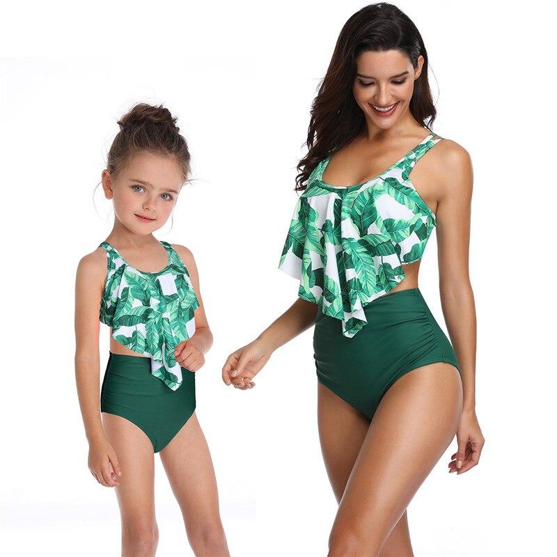 High Waist Bikini 2019 Swimsuit Mom And Daughter Swimsuit Swimwear Women Children Baby Kids Beach Matching Family Bathing Suits
