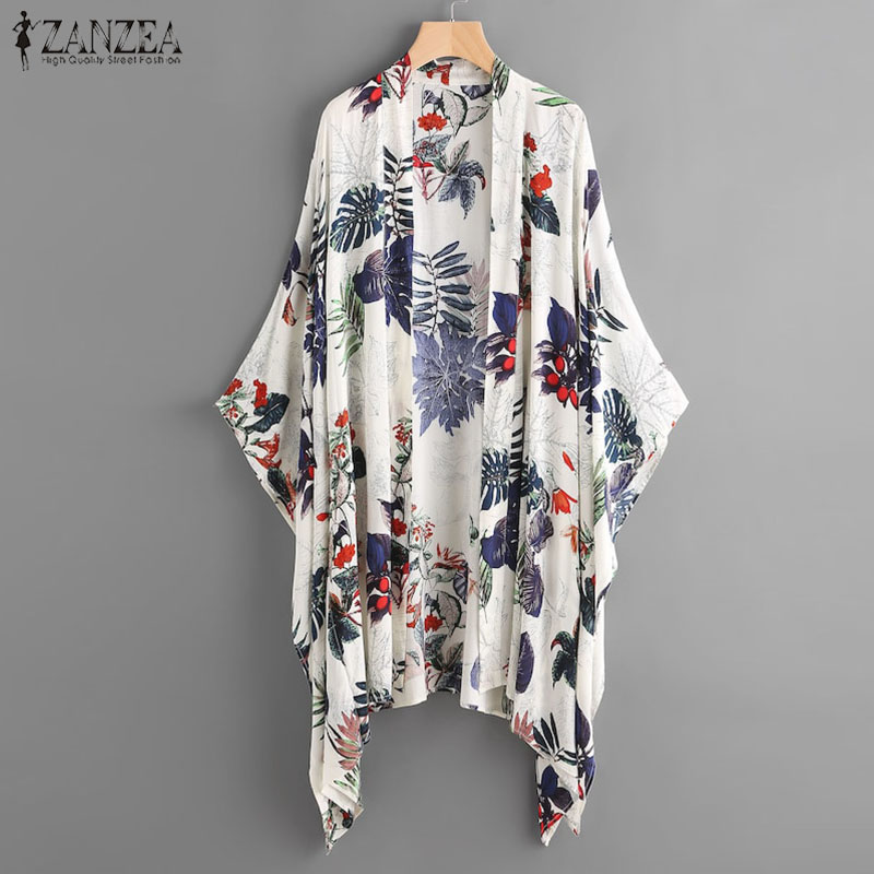 2019 ZANZEA  Women  Sleeve Blouse Female Summer Print Kimono Casual Cover Up Shirts Beach Cardigan Blusas Plus Size