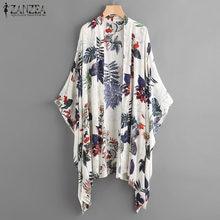 2021 ZANZEA las mujeres Blusa de manga verano femenino Kimono impresión cubierta informal camisas-Playa Blusas de talla grande
