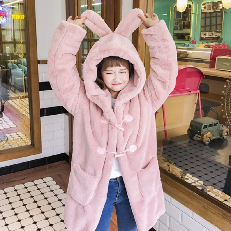 Cute Horn Buckle Thick Plush Rabbit Ear Hooded Sweatshirts Coat Women Loose Long Sleeve Top 2018 Autumn Winter Outerwear Female big toe sandal