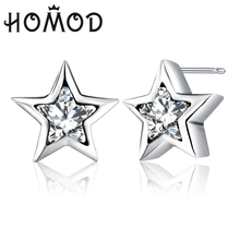 HOMOD 2019 New Design Silver Sparkling Brand Earrings Clear CZ Star Stud For Women Jewelry Christmas Gift