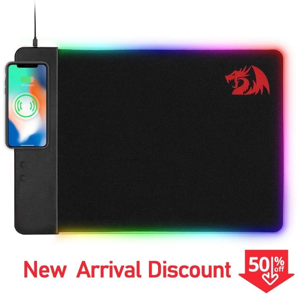 Redragon P025 Qi 10 w chargeur de charge sans fil Led RGB tapis de souris rétro-éclairé Xl grand tapis de souris de jeu en caoutchouc souple Pc Gamer