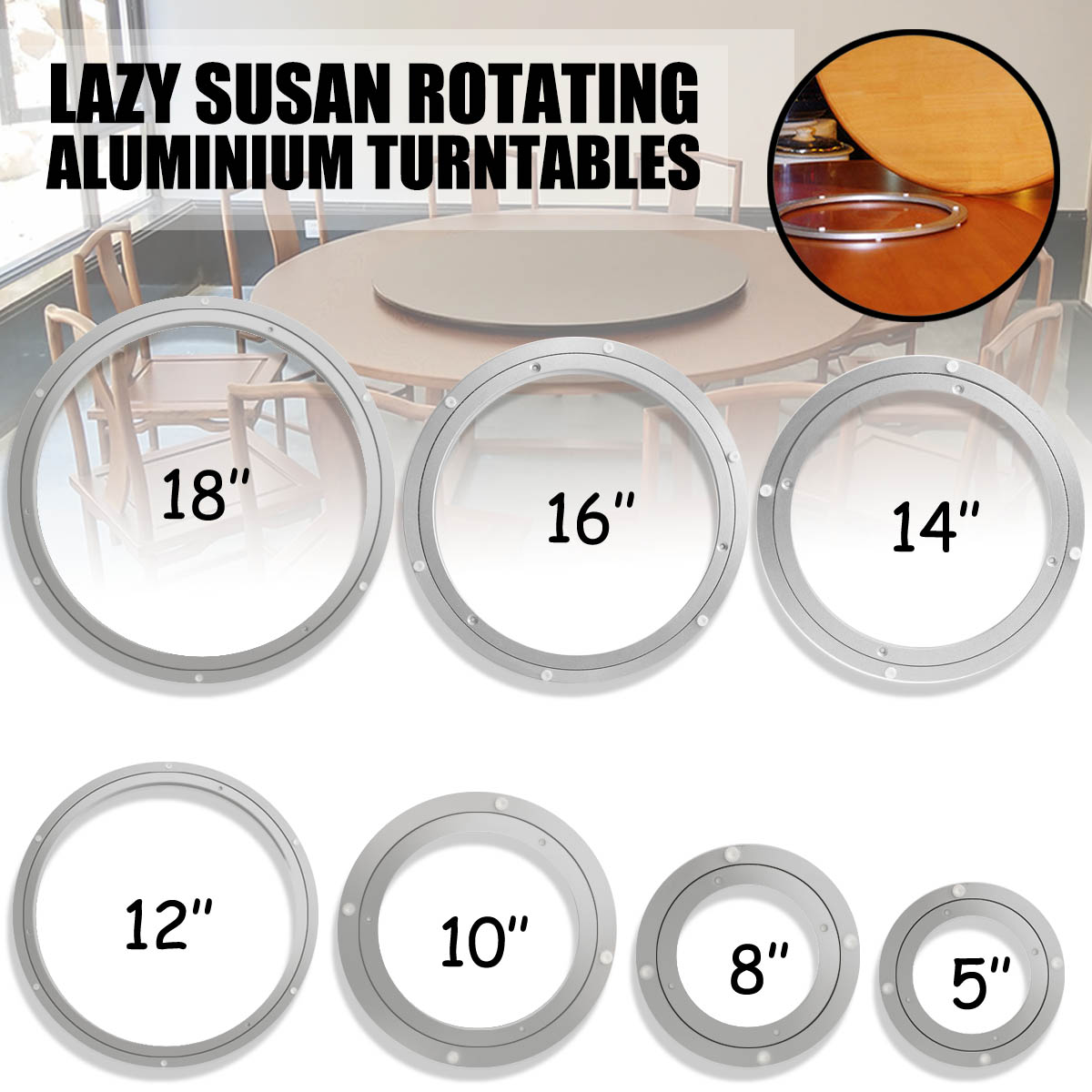 Heavy   Aluminium Rotating Bearing Turntable Turn Table Round Swivel Plate 7 Size for Cake Decorations Catering ServicesHeavy   Aluminium Rotating Bearing Turntable Turn Table Round Swivel Plate 7 Size for Cake Decorations Catering Services