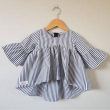 Новая модная футболка в полоску вечерние повседневные футболки принцессы с длинными расклешенными рукавами для маленьких девочек Лидер продаж, на возраст от 0 до 18 месяцев