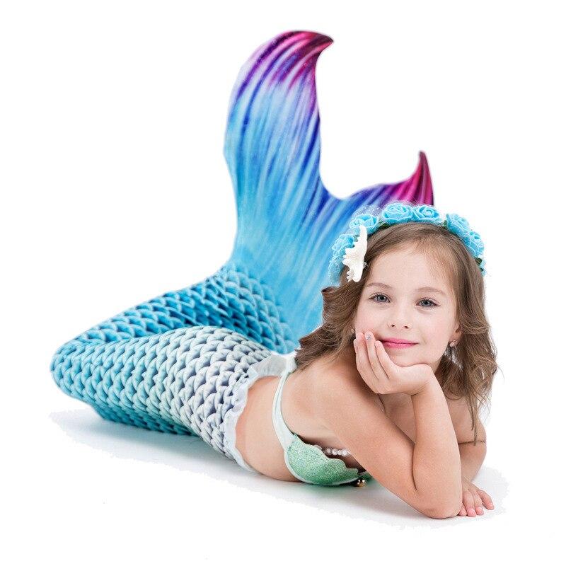 5 pièces/ensemble filles queue de sirène avec Monofin pour la natation sirène Cosplay Costume maillots de bain Zeemeerminstaart pour les enfants