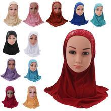 Kid Girls Islamic Muslim Arab Scarf School Rhinestone Child Headwear Middle East Turban Ramadan Beanies Bonnet Hair Loss Fashion