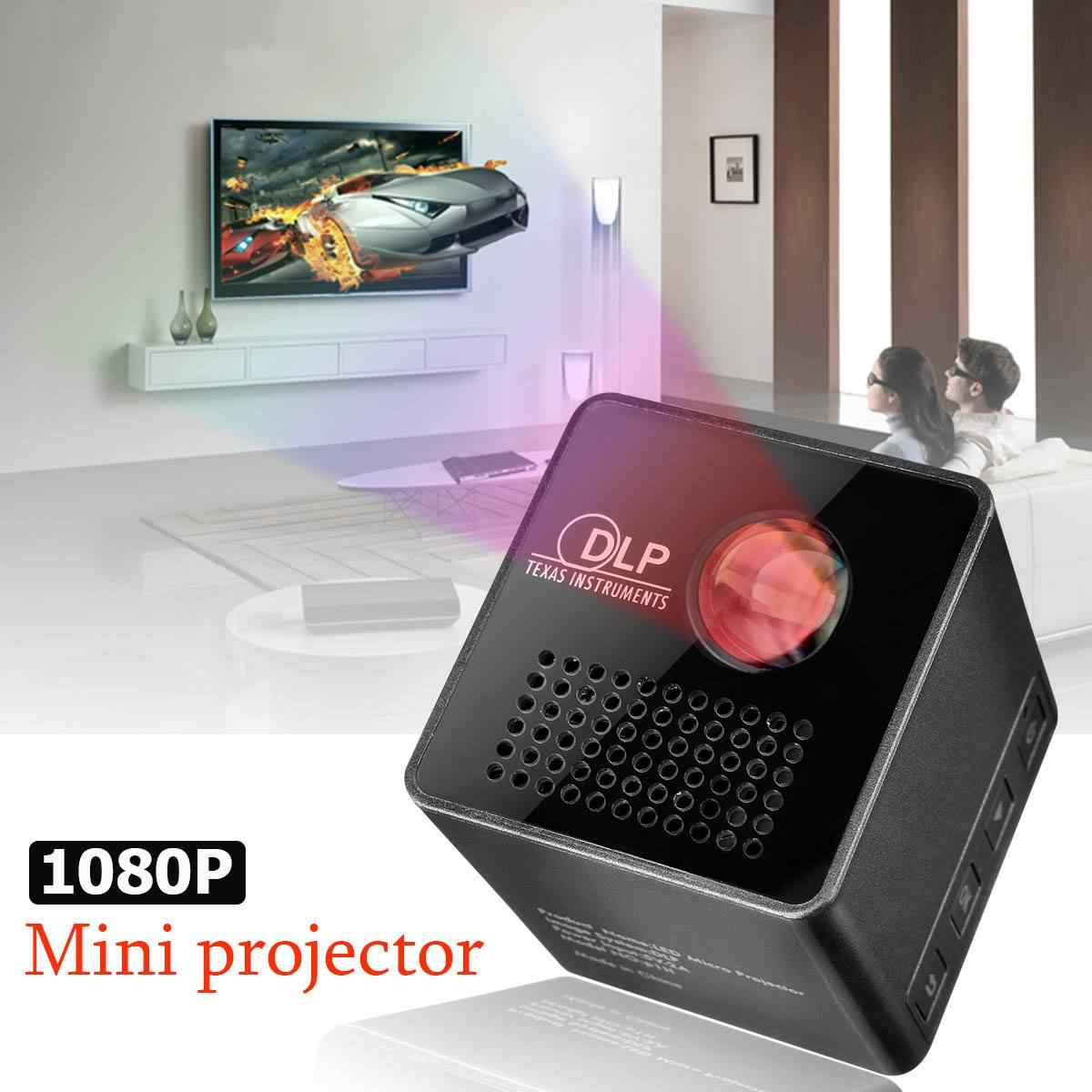 Mini projektor 1080 P bezprzewodowy Wifi telefon komórkowy projektor obsługuje Miracast Dlna kieszenie projektor kina domowego 5.1 DLP projektor baterii