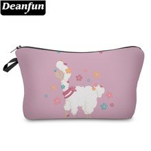 Deanfun Waterproof Printed Flower Llama Cosmetic Bag Lovely Makeup Necessaire for Travel Gift  51377 #