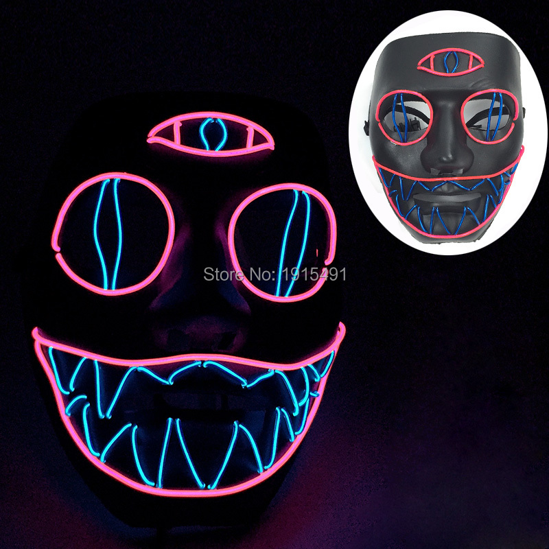 Event & Party Festive & Party Supplies Hot Sale 3v Flashing El Wire Glowing Patry Mask Led Fluorescent Party Diy For Halloween Carnival Cosplay Mask Holiday Gift