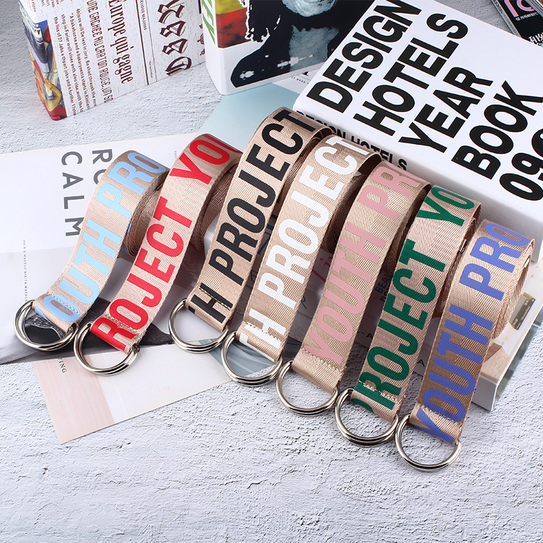 2019 Unisex Canvas Belts Letters Printed D Ring Double Buckle Student Belt Fashion Belts Student Letter Canvas Belt