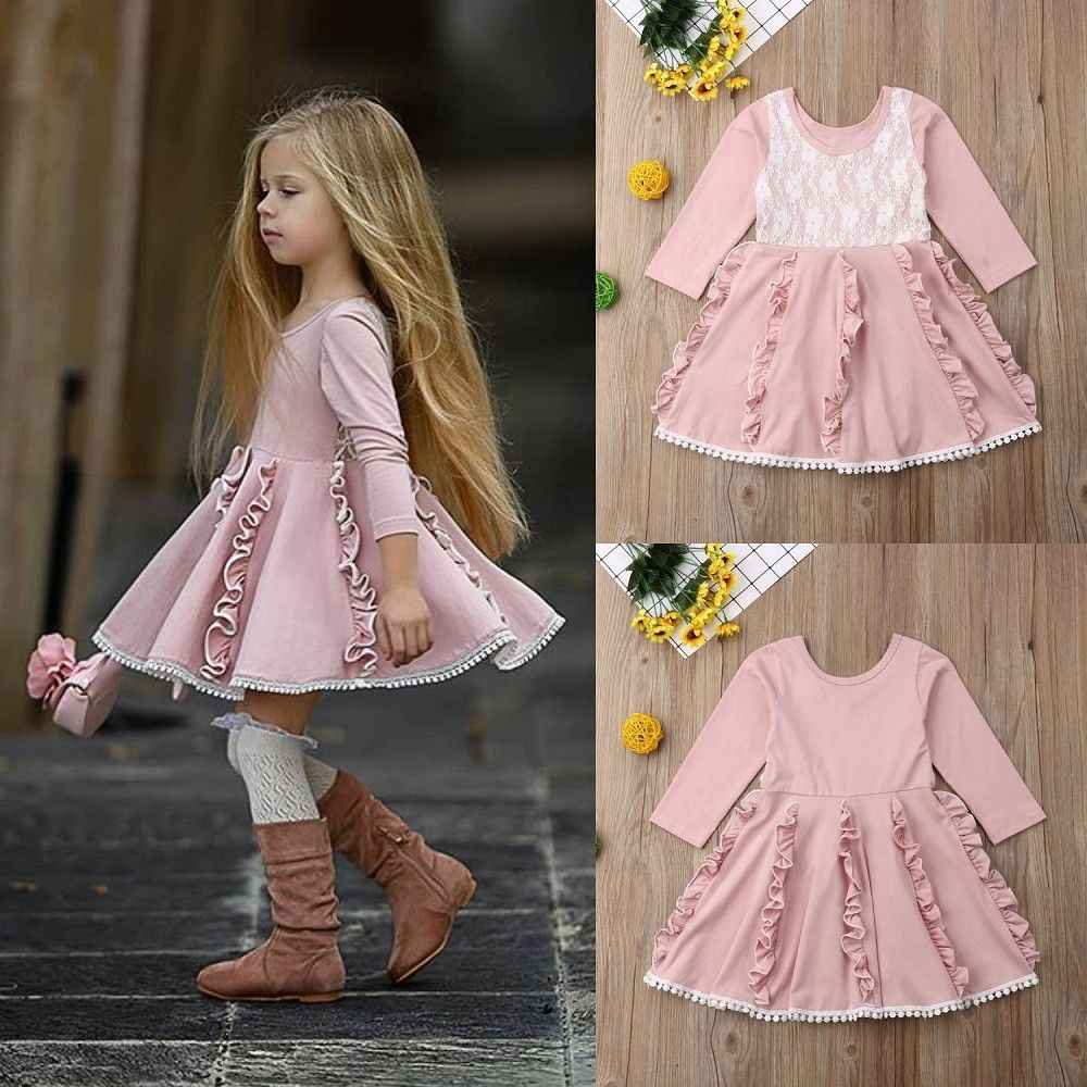 2019 Spring Fashion Kids Flower Girls Party Dress Lace Patchwork Wedding Bridesmaid Dresses Pink Princess Princess