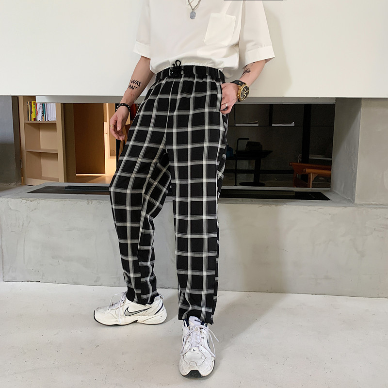 2019 Summer Men's Loose Casual Pants Male Black And White Lattice Printing Pants Wind Fashion Trend High-quality Trousers M-XL
