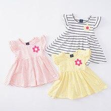 Платье с цветочным рисунком для девочек платье в полоску для малышей хлопковое платье для маленьких девочек костюм для девочек от 1 до 4 лет