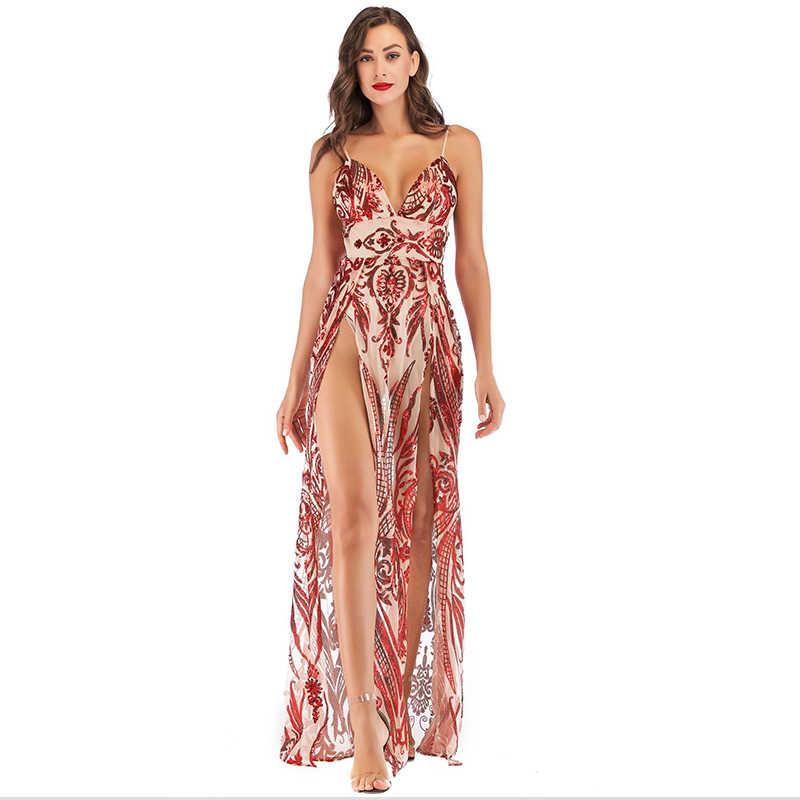 ... Double Slit Sequins Red Maxi Dress Women Patterns High Waist Chic Sexy  Dresses Evening Party Dresses ... d48bc07596a4