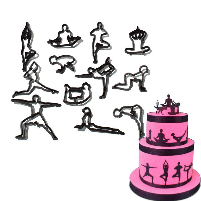 <+>  12 Шт. / Компл. Йога Положение Форма Помадка Торт Пресс-Формы Торт Окружающие Края DIY Выпечки Торта ★