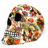 Pattern Colorful Resin Skull Statue Halloween Horror Skull Ornament Modern Creative Personality Home Decoration