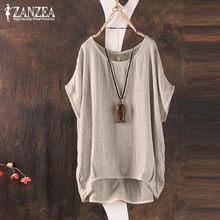 2021 حجم كبير ZANZEA الصيف النساء عادية س الرقبة قصيرة الأكمام بلوزات فضفاضة T-Shitrs خمر الصلبة تي شيرت تي شيرت