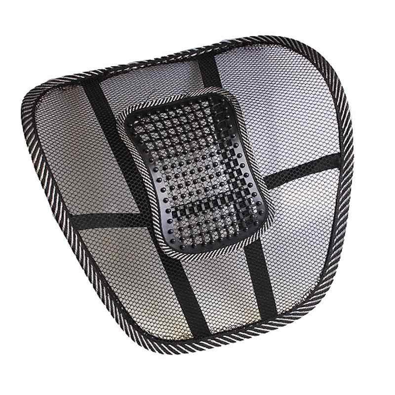 Pano preto De Malha Assento de Carro Almofada Lombar Apoio Lombar Cintura Travesseiro Alívio Dor Nas Costas Da Cadeira Do Escritório de Automóveis Auto Acessórios