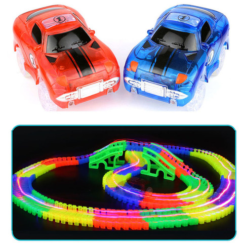 LED Light up Cars for Tracks Electronics Car Toys With Flashing Lights Fancy DIY Toy Cars For Kid Tracks parts Car for Children Karachi
