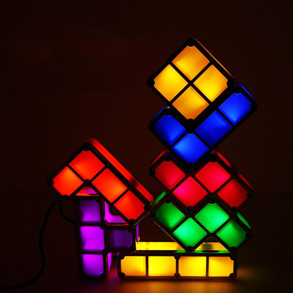 DIY Tetris Puzzle Light Stackable LED Desk Lamp Constructible Block Night Light Retro Game Tower Baby Colorful Brick Toy