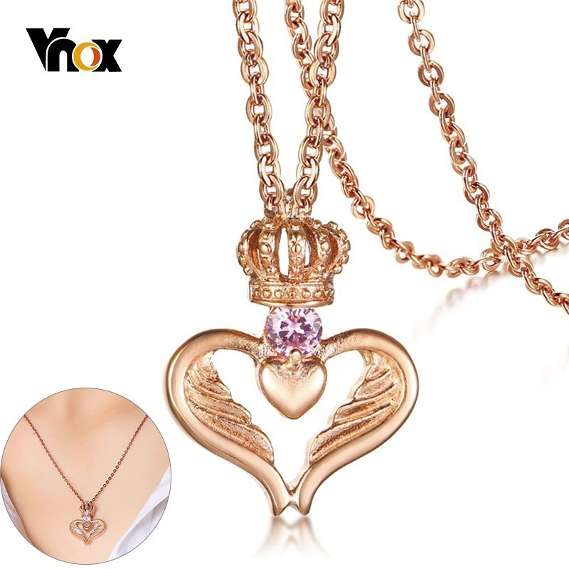 29bfd346d643f US $8.45 40% OFF|Vnox Black Evil Bat Wing 585 Rose Gold Angel Wing Pendants  for Women Men Stainless Steel with CZ Stone Couple Necklace-in Pendant ...