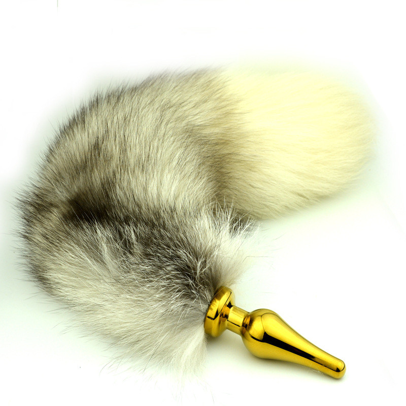 Stainless Anal Dildo Whitegray Long Fox Tail Anal Plug -2821