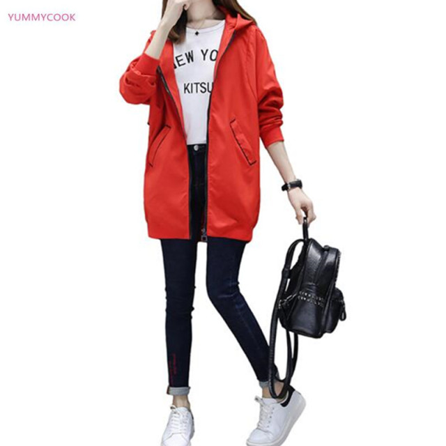 7737fccd0190f Women s windbreaker jacket autumn large size hooded loose casual Long  sleeve jacket medium long spring windbreaker jacket 152