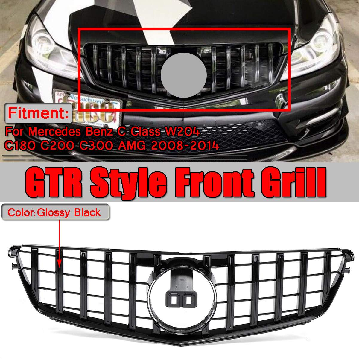 <font><b>W204</b></font> GT GTR Style Car Front Bumper Upper Racing Grille <font><b>Grill</b></font> For Mercedes For <font><b>Benz</b></font> <font><b>W204</b></font> C180 C200 C300 for AMG 2008-2014 image