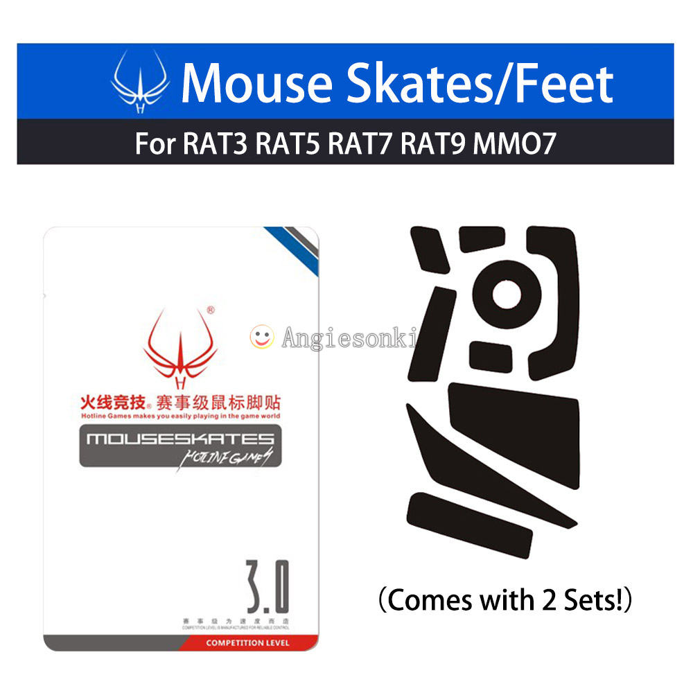 2Sets Mouse Feet/Skates Teflon 3M 0.6mm FOR Hotline Games Cyborg R.A.T. (RAT) 3/5/7/9/MMO7 Gaming Mice