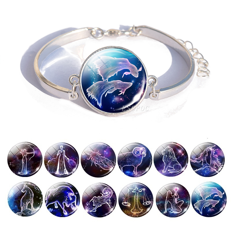 Zodiac Sign Charm Bracelet Diy 12 Constellation Bangle Bracelet Pisces Taurus Gemini Leo Libra Capricorn Women Jewelry Gifts(China)